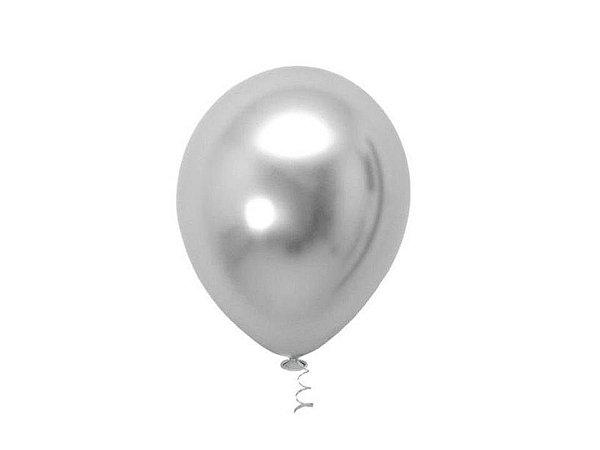 Balão Prateado Metálico nº9 com 25 unid.