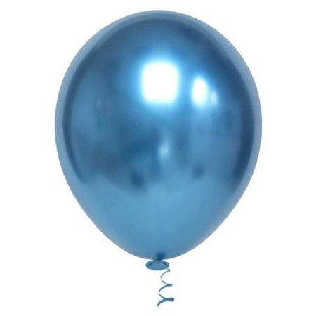 Balão Azul 5 Metalizado Balloon com 25 unid.