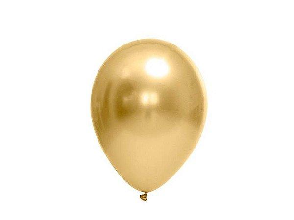 Balão Dourado nº5 Metalizado Balloon com 25 unid.