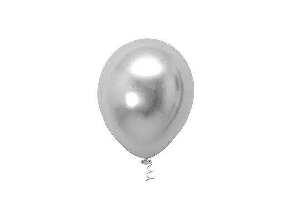 Balão Prata nº5 Metalizado Balloon com 25 unid.