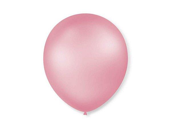 Balão Rosa Claro Perolado Liso Nº7 com 50 unid.