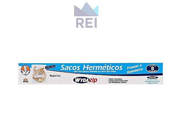 Saco Hermetico WydaZip Grande 27X31cm c/ 08 Unidades Wyda