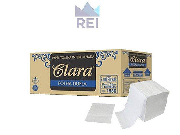 Papel Toalha Folha Dupla 2400 folhas 22x20cm Clara