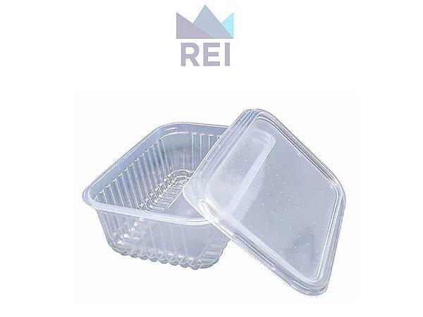 Pote Retangular em Plástico PP 1000ml pacote com 24 unidades Prafesta