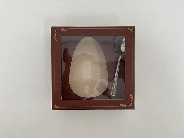 Caixa para Meio Ovo de Páscoa com colher Clássica Brown 250g