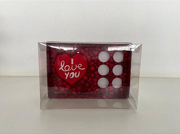 Caixa vermelho escuro Coração lapidado 200g + 6 doces