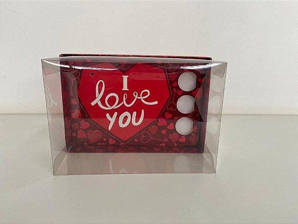 Caixa vermelho escuro coração lapidado 500g + 3 doces