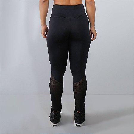 Calça Fitness Feminina Preta com Detalhes em Tela   Ref: 4.4.1591-01