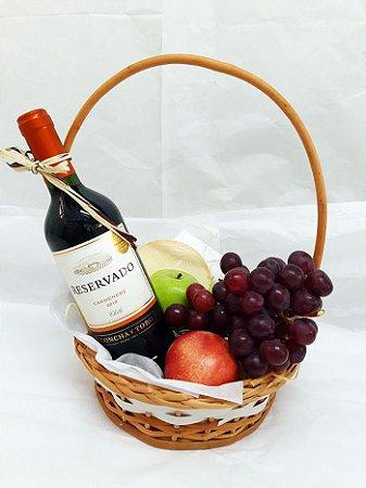 Cesta Queijo, Vinho e Frutas