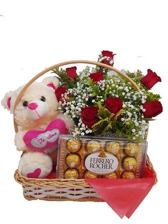 Cesta de Chocolate com Rosas Amore