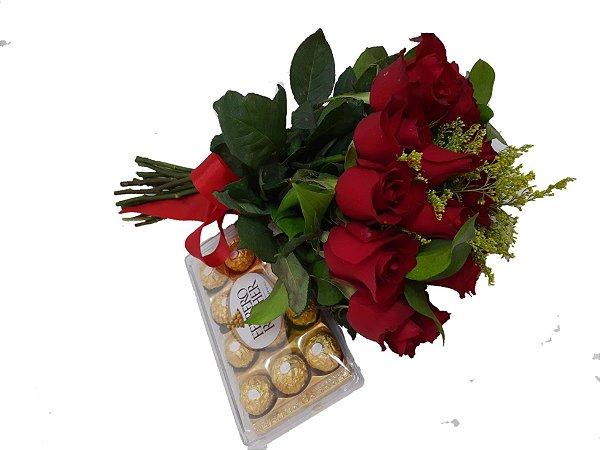 Buque com 18 Rosas Vermelhas e Ferrero Rocher