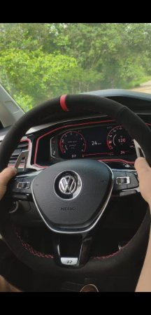 Capa Volante Volkswagen em Alcântara + Costura Vermelha