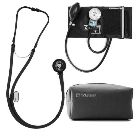 Kit P.A Med All Black com Estetoscópio e Aparelho de pressão