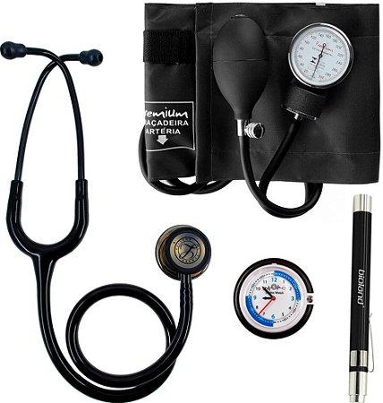 Kit Black Edition com Estetoscópio Littmann e Aparelho de pressão Premium