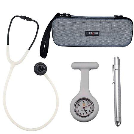 Kit Off White com Estetoscópio BIC e Case para Transporte