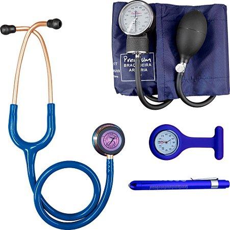 Kit Azul Rainbow com Estetoscópio Littmann e Aparelho de pressão Premium