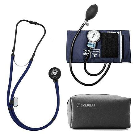 Kit P.A. Med Azul All Black com Estetoscópio e Aparelho de pressão