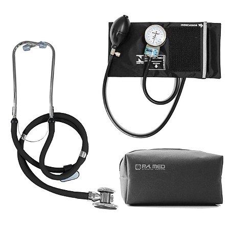 Kit P.A. Med Preto com Estetoscópio e Aparelho de pressão