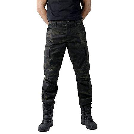 Calça Masculina Combat Camuflada Multicam Black Bélica