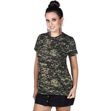Camiseta Feminina Soldier Camuflada Digital Pântano Bélica