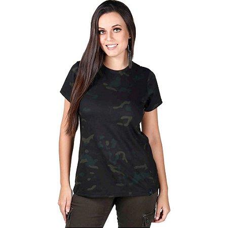 Camiseta Feminina Soldier Camuflada Multicam Black Bélica