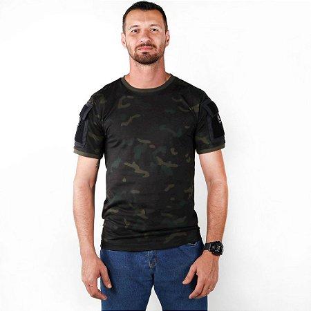 Camiseta Tática Masculina Ranger Camuflada Multicam Black Bélica