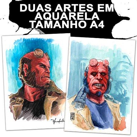 Hellboy - duas fanart em aquarela