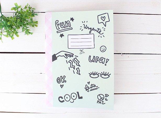 Caderno Flex Fun Icons Verde - Pautado