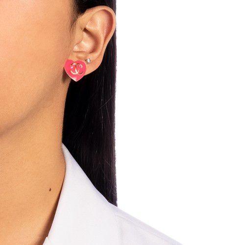 Brinco Esmaltado Inspiração Chanel Rosa Neon