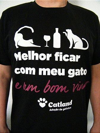Camiseta Gato e Vinho