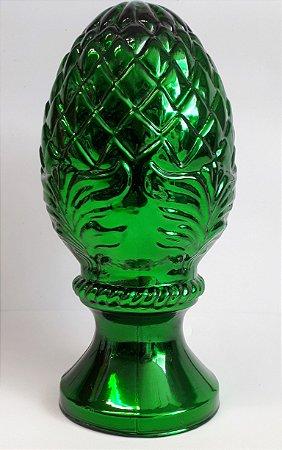 Escultura Pinha de Vidro Verde Metalizada - 23x10cm