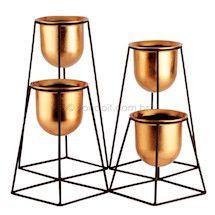 Vaso de Metal e Plástico Cobre Redondo Geo Forms