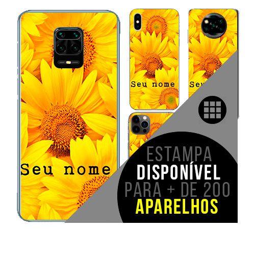 Capa de celular personalizada com nome - Flores Girassol