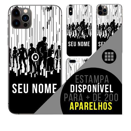 Capa de celular personalizada com nome - heróis