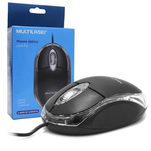 Mouse com fio USB Multilaser