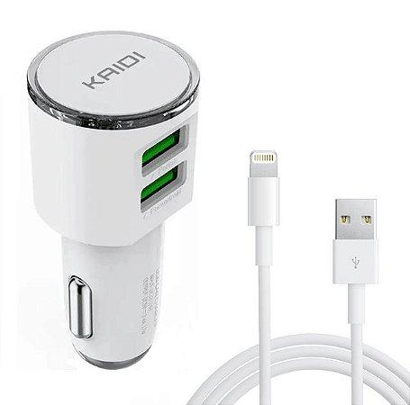 Carregador Veicular iPhone 2 Usb 5v/3.4 Cabo Apple