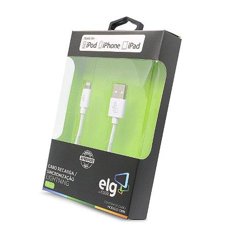 Cabo de Celular Iphone Lightning para Recarga e Sincronização C830 Branco ELG