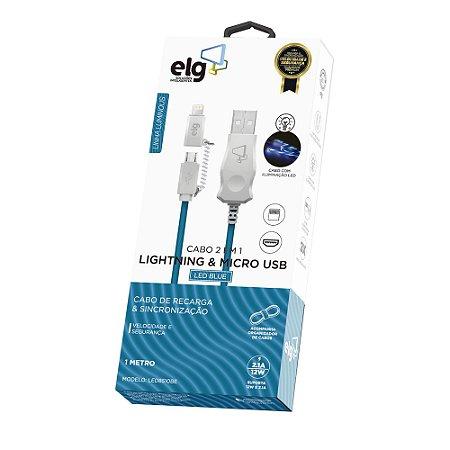 Cabo de Celular 2 em 1 Iphone e Micro USB Lightning Mini USB Elg LED8510BE
