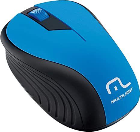 Mouse Sem Fio USB 2.4ghz Preto e Azul MO215 Multilaser