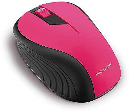 Mouse Sem Fio USB 2.4ghz Preto e Rosa MO214 Multilaser
