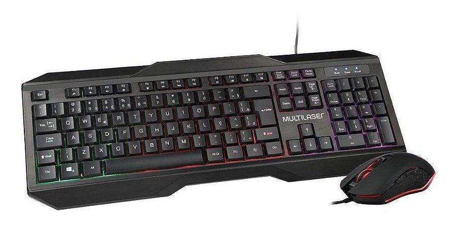 Kit mouse e Teclado Gamer 2400DPI com Fio LED - TC239 Multilaser