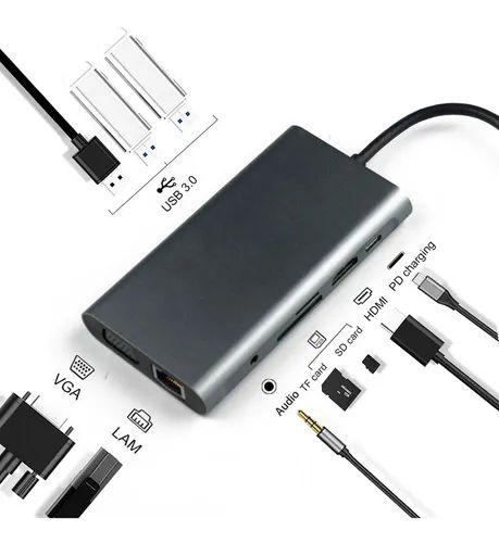 Adaptador Usb Tipo C para Hdmi Vga Rj45 Hub Usb Conversor Video e Audio Macbook