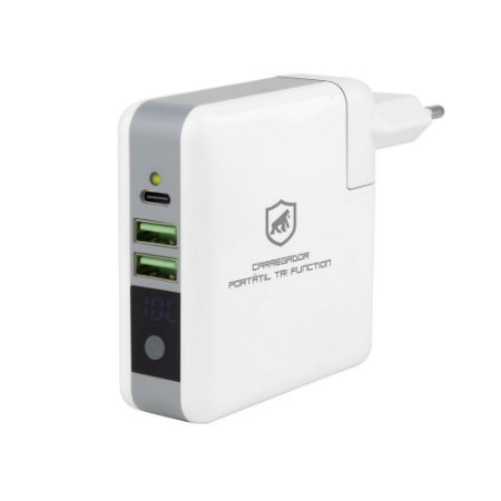 Carregador Portátil Tri Function 3 em 1 (Portátil + Tomada + Wireless) 6.700mAh - Gshield