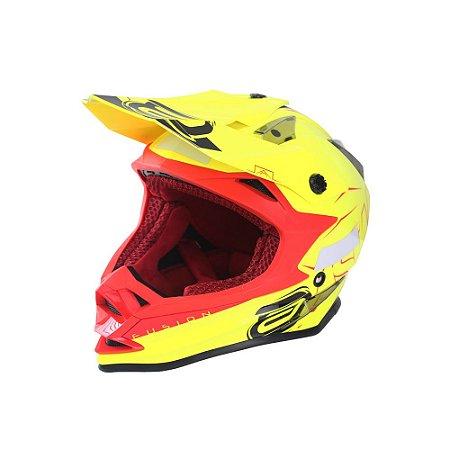 Capacete ASW FUSION SHARP Amarelo Fluor Vermelho 62 (GG)