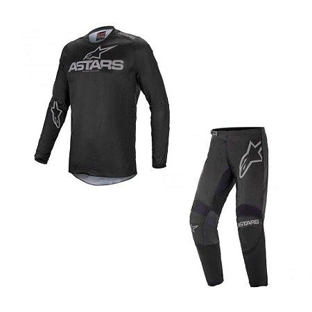 Conjunto Calça + Camisa Alpinestars Fluid Graphite 21 Preto/Cinza Escuro