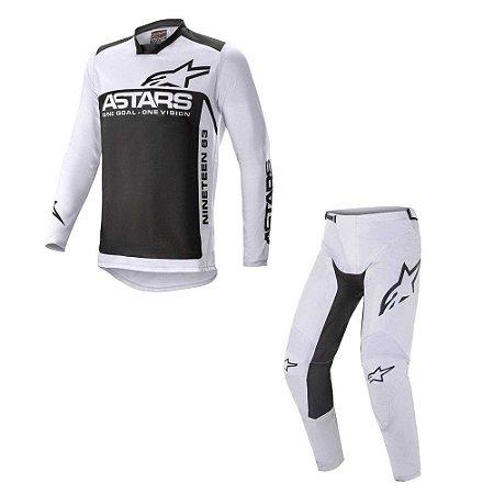 Conjunto Calça + Camisa Alpinestars Racer Supermatic 21 Cinza Claro/Preto