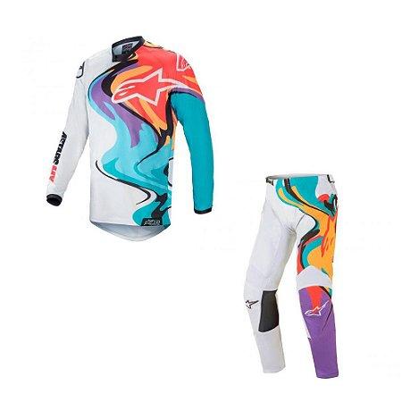 Conjunto Calça + Camisa Alpinestars Racer Flagship 21 Branco/Multicolor
