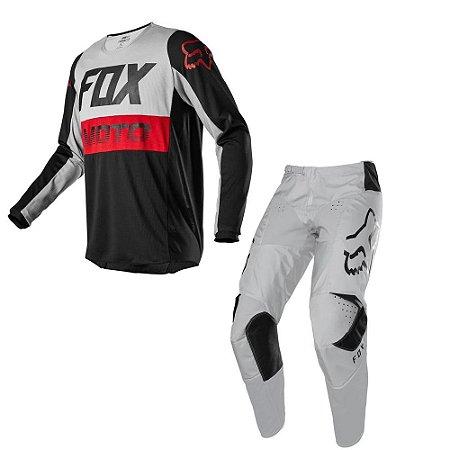 Conjunto Fox MX 180 Calça Prix + Camisa Fyce Cinza - 46/GG