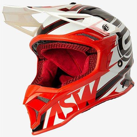 Capacete ASW Fusion 2.0 Blade Branco Vermelho