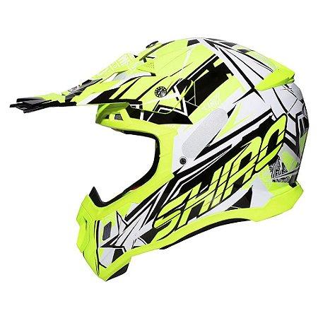 Capacete Motocross Shiro Thunder III MX-917 Amarelo Fluorescente